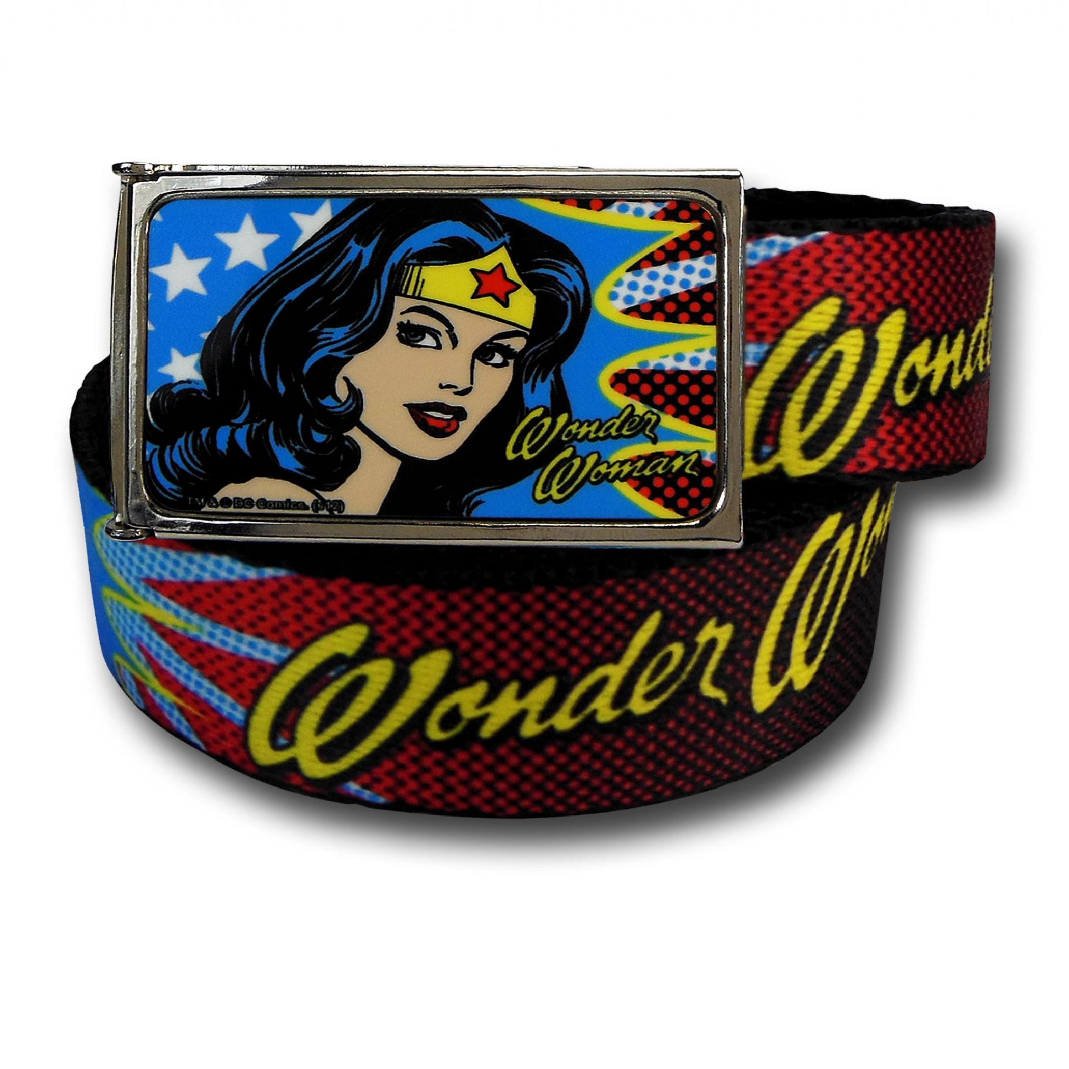 Wonder Woman Shoulder Glance and Stars Kids Web Belt
