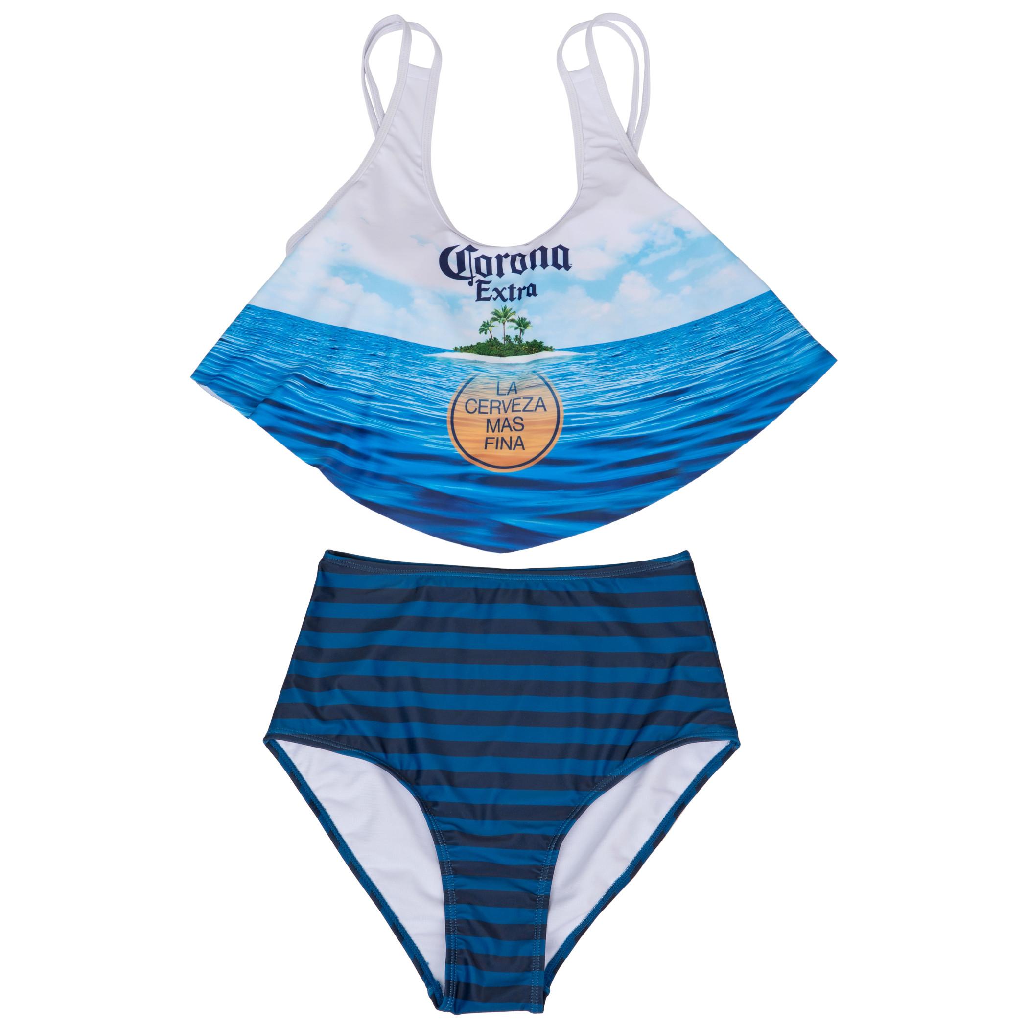 Corona Extra Beach Scene 2-Piece Ruffled Swimsuit