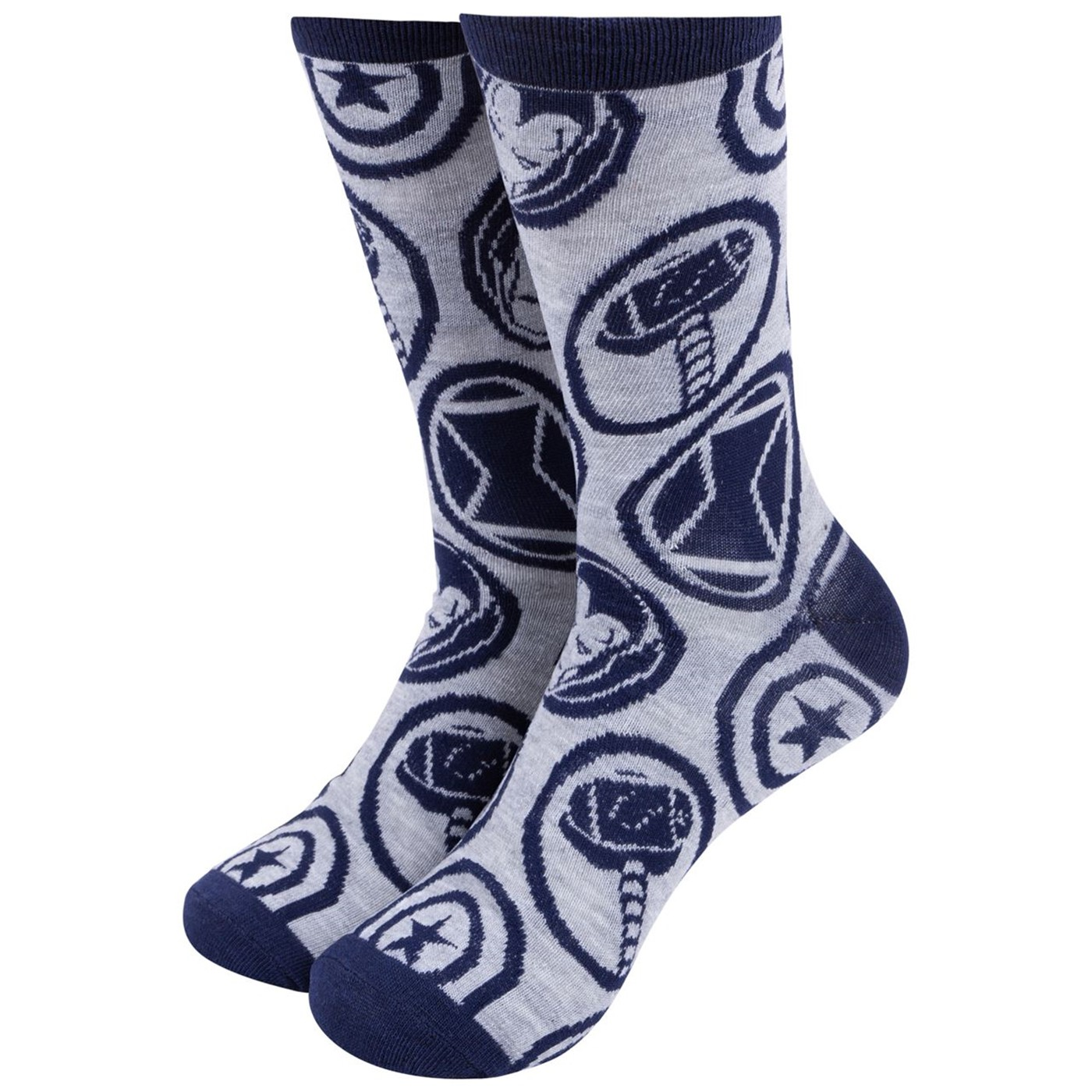 Captain America Symbol and Avengers Symbols Crew Socks Two Pack