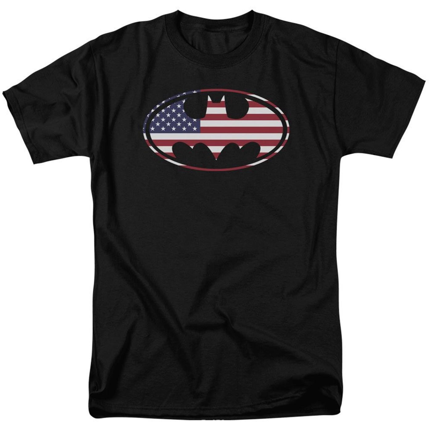 Batman American Flag Classic Logo Men's T-shirt