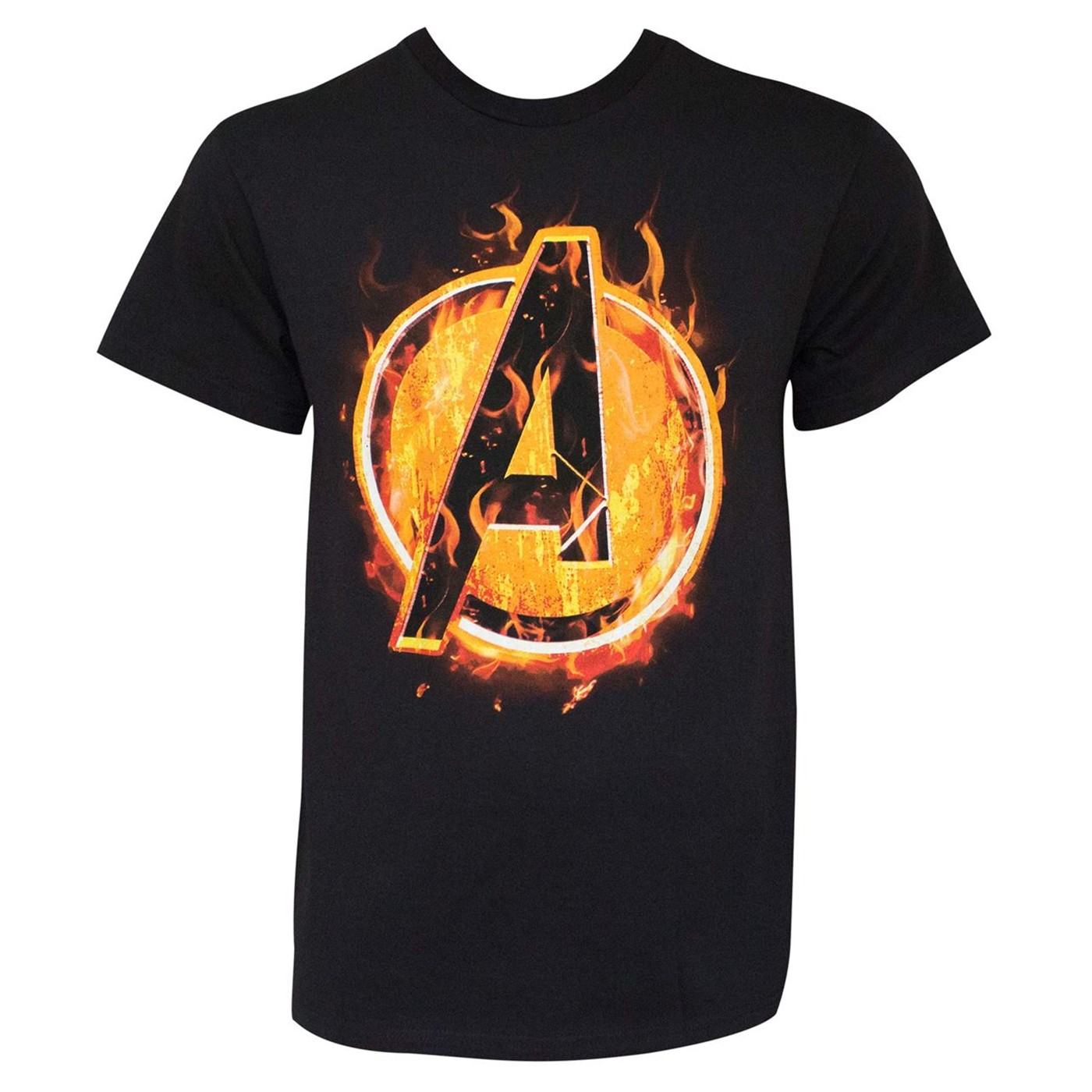 Avengers Fire Icon Black Men's T-Shirt