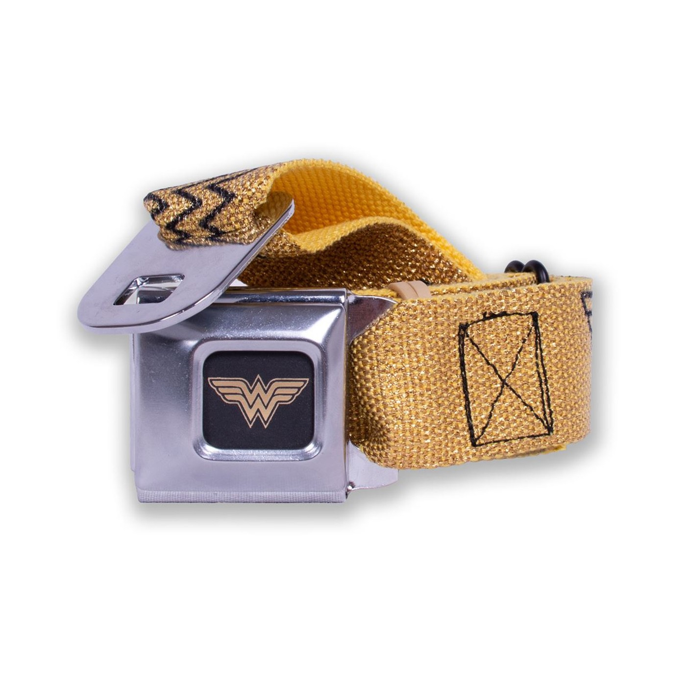 Wonder Woman Logo Reverse Brushed Black/Gold Seatbelt Belt
