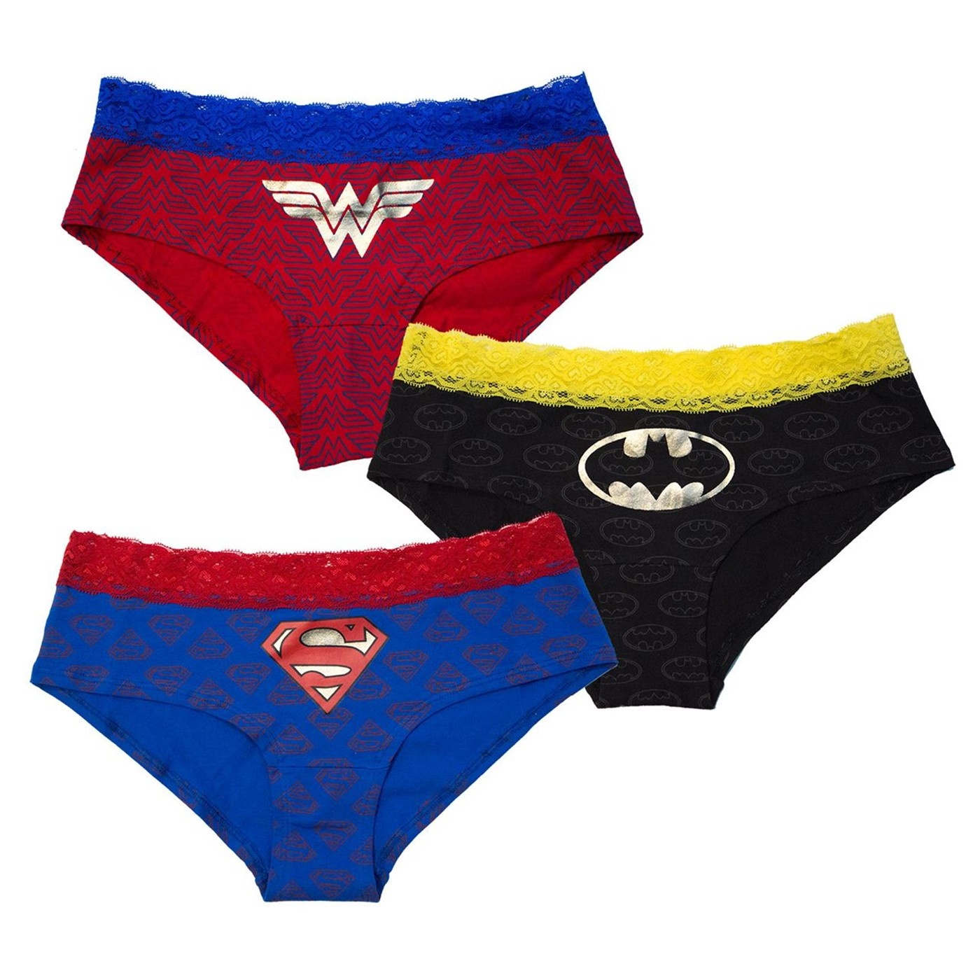 DC Comics Superhero Lace 3 Pack Hipster Panties