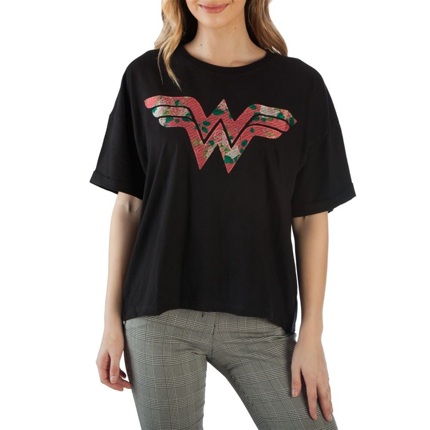 Wonder Woman Floral Symbol Women's T-Shirt