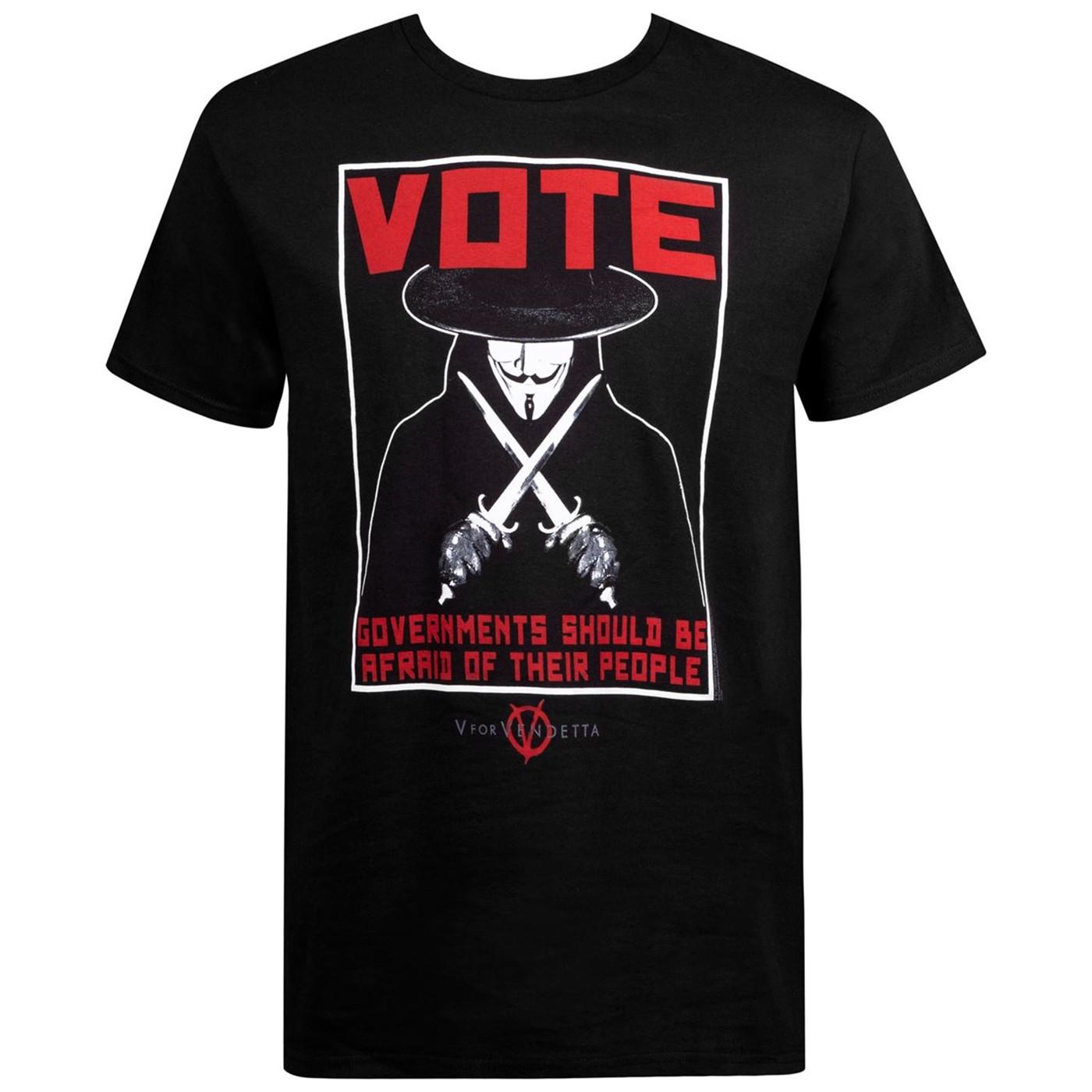 V for Vendetta Vote Poster Men's T-Shirt
