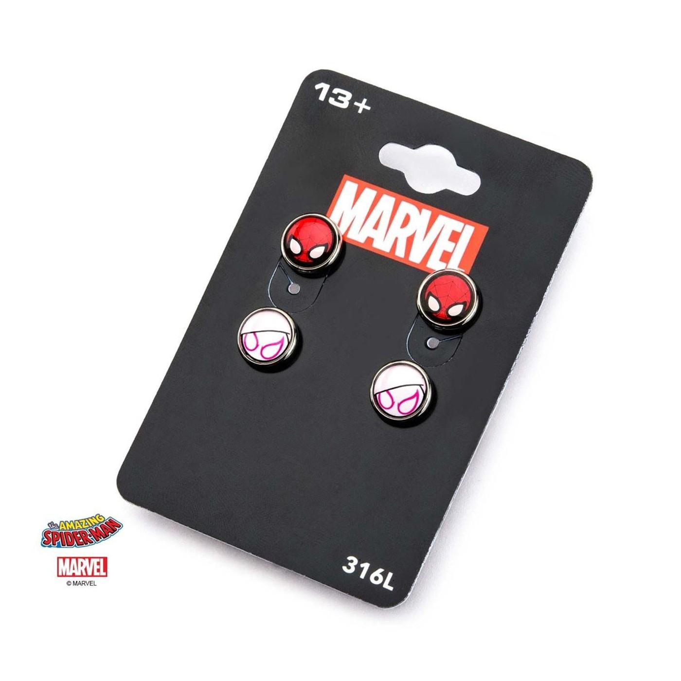 Marvel Base Metal Spider-Gwen Post Stud Earrings Set