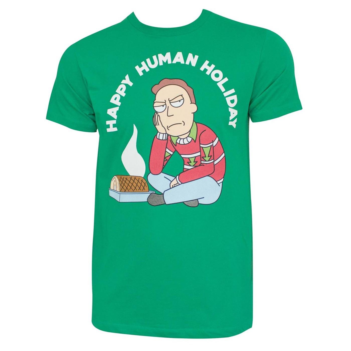 Rick and Morty Happy Human Holiday Tshirt
