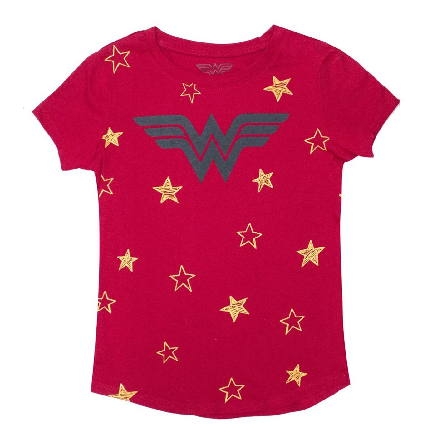 Wonder Woman Stars DC Girl's Red T-shirt
