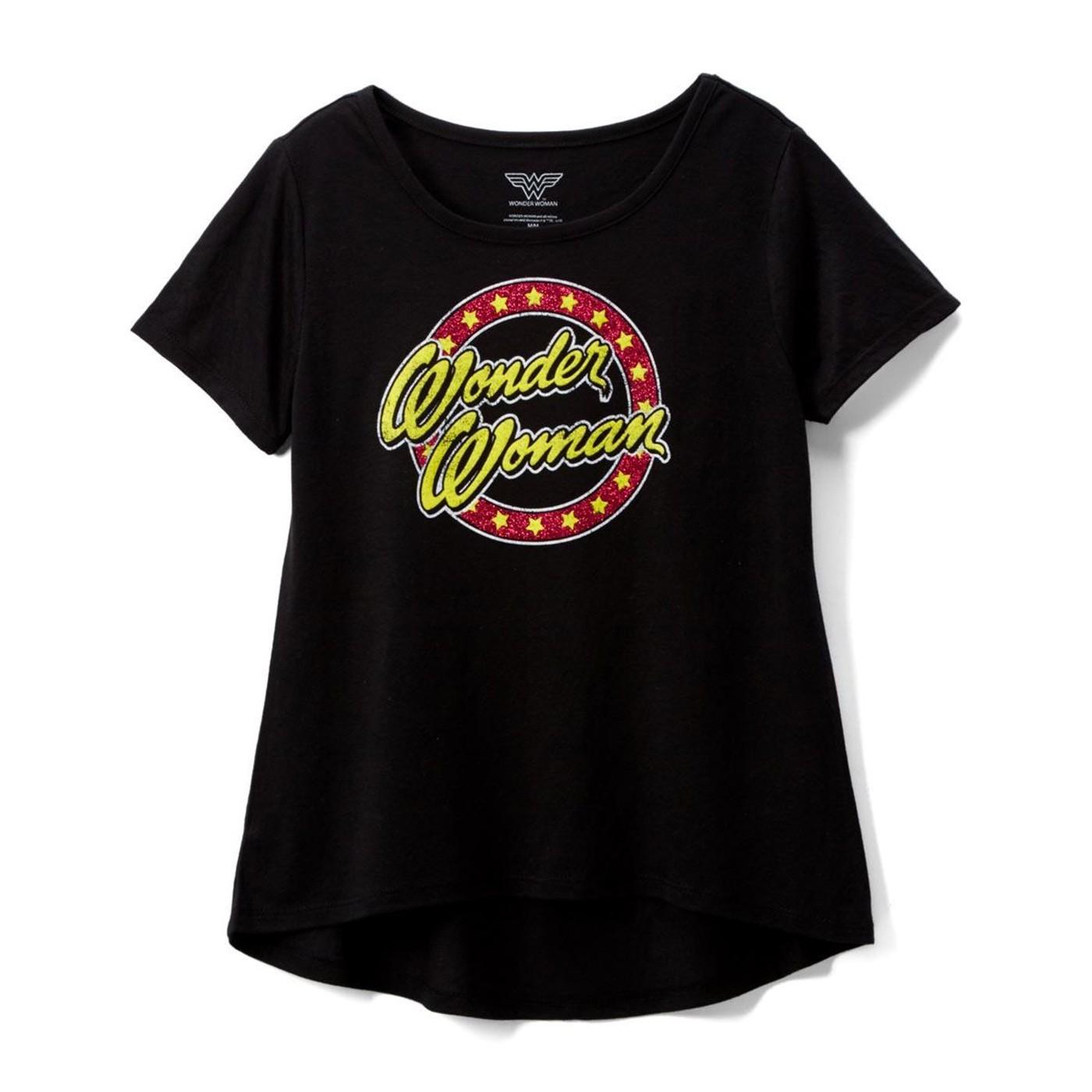 Wonder Woman Text Glitter Circle DC Girl's T-shirt