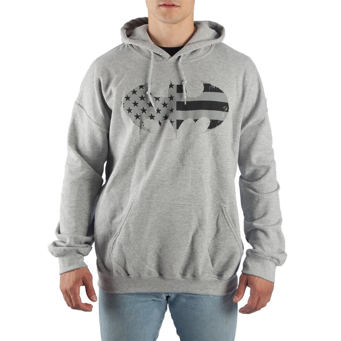 Batman Flag Symbol Grey Men's Hooded Sweatshirt