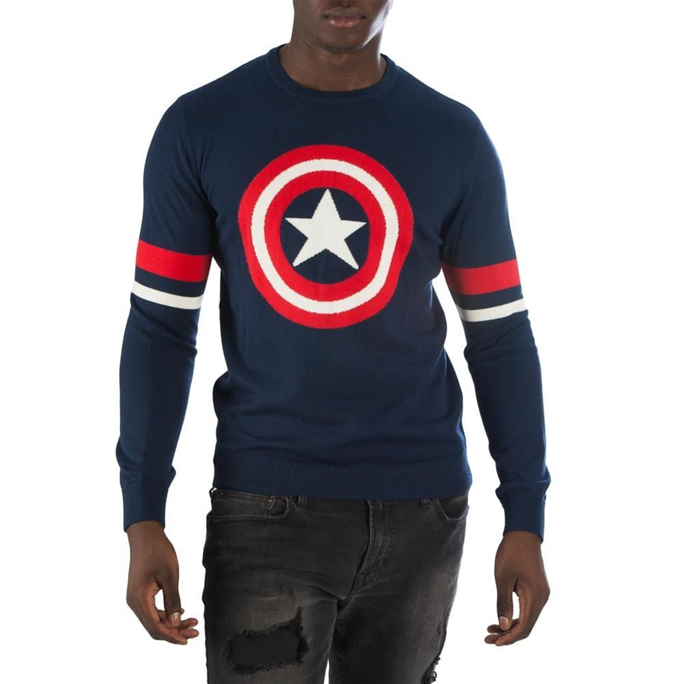 Captain America Symbol Blue Men's Sweater