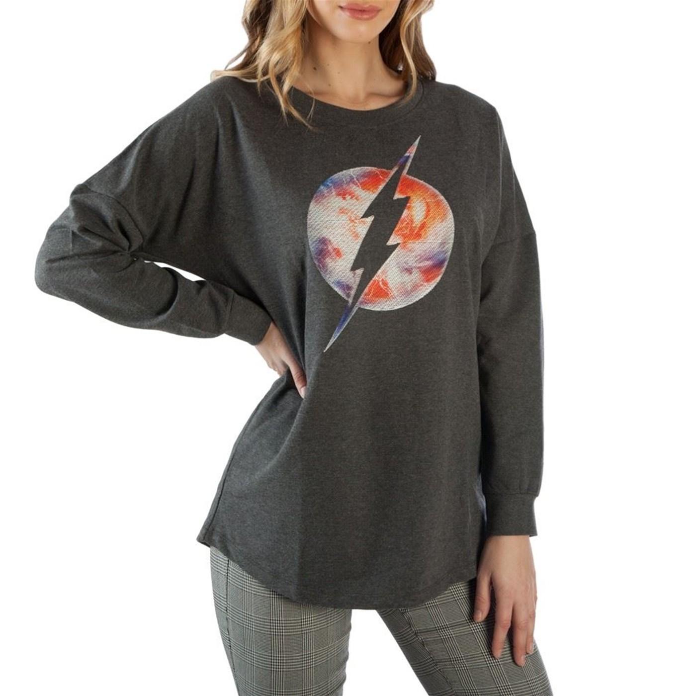 Flash Threadpixel Fill Logo Juniors Drop Shoulder Pullover Shirt