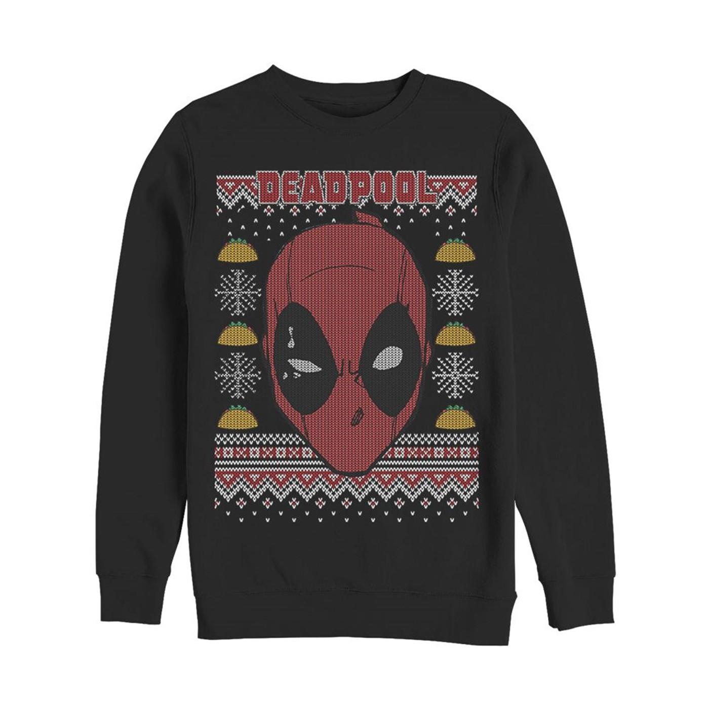 Deadpool Mask Ugly Christmas Sweater Design Sweatshirt