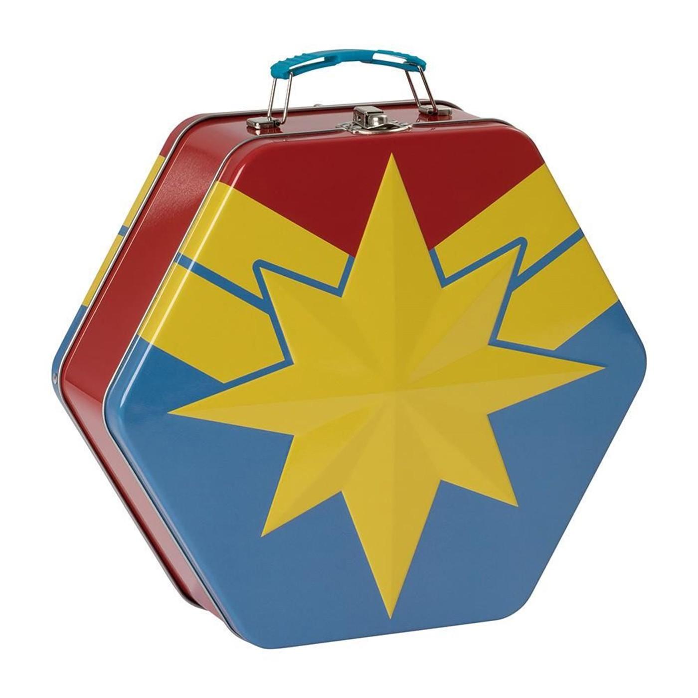 Captain Marvel Badge Shaped Tin Tote