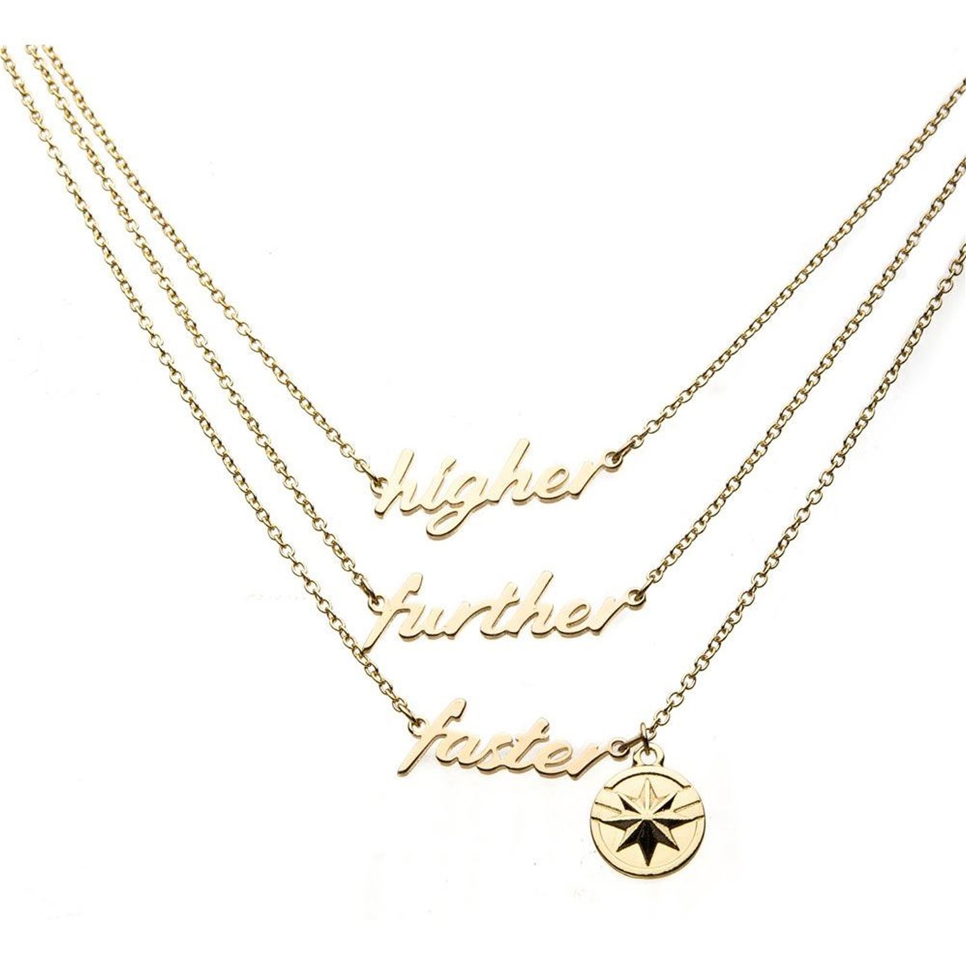 Captain Marvel Movie Higher Further Faster Necklace