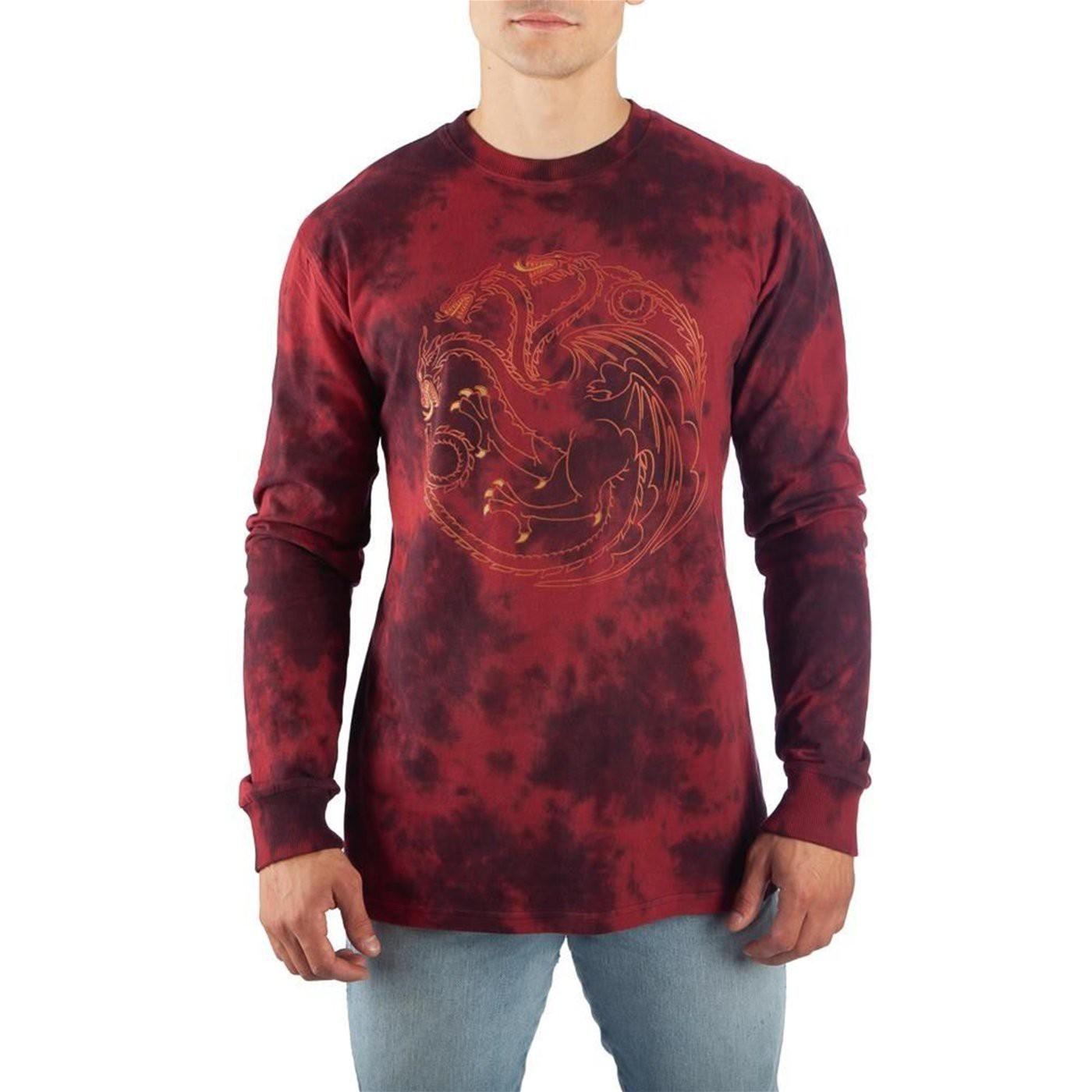 Game of Thrones Targaryen Long Sleeve Acid Wash T-Shirt
