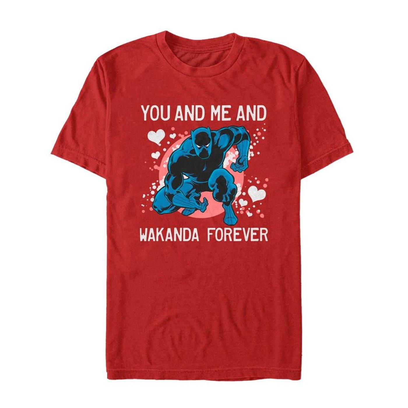 88305bff0 Valentine's Black Panther Wakanda Forever Men's T-Shirt