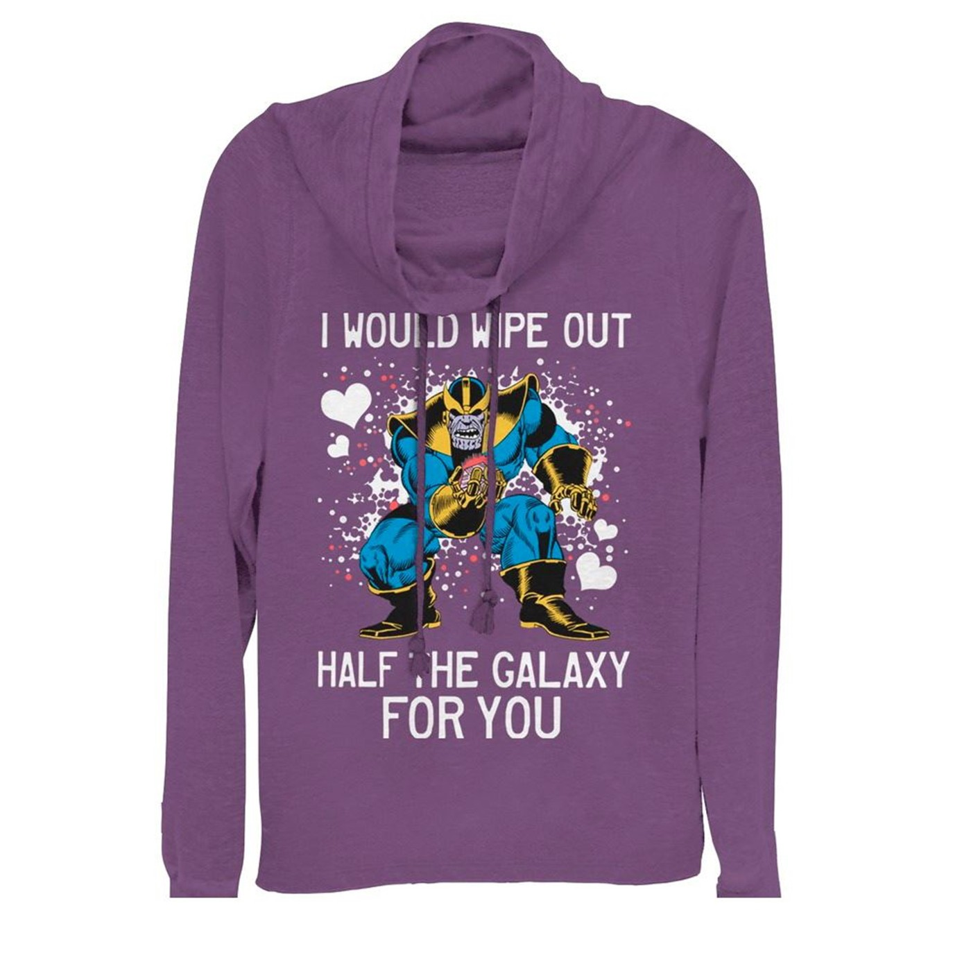 Valentine's Thanos Wipe Out Galaxy for You Cowl Neck Women's Sweatshirt