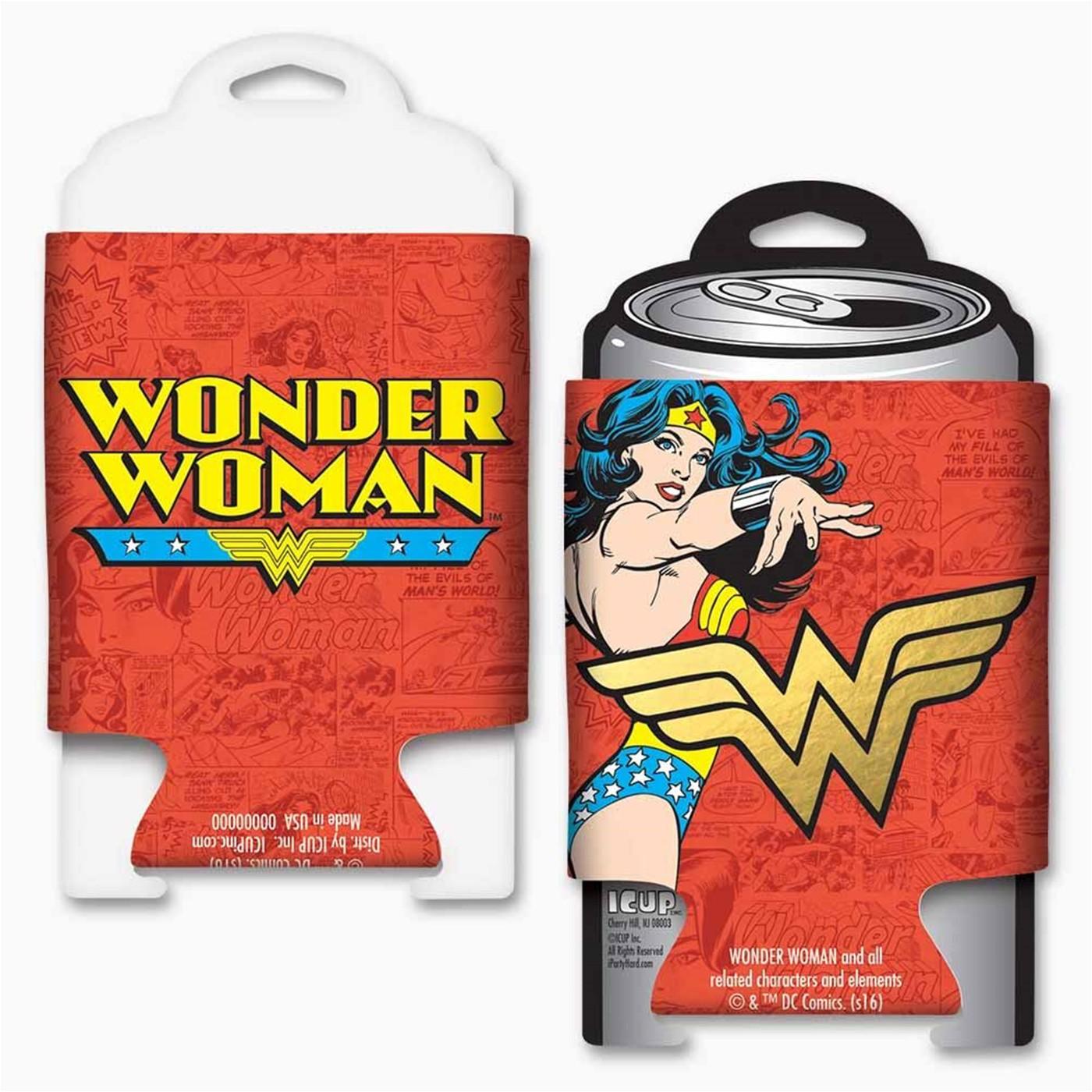 DC Comics Wonder Woman Gold Foil Logo Can Cooler w/ card