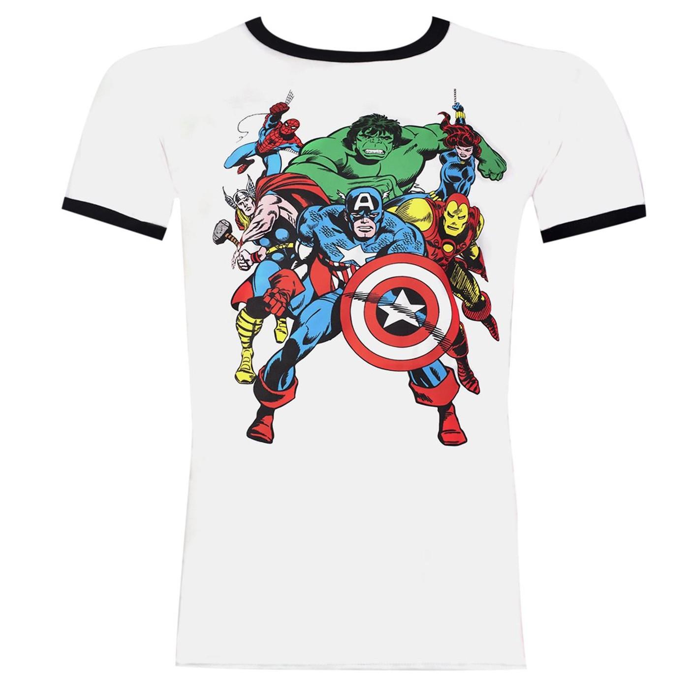 The Avengers Soft Men's White Ringer T-Shirt