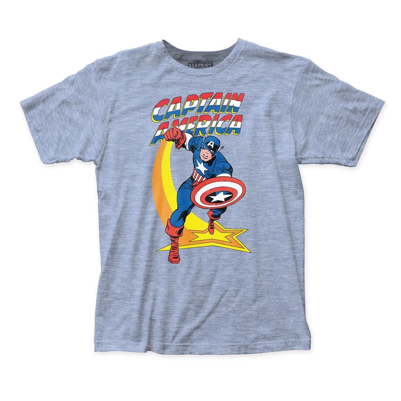 Captain America Star Punch Men's Blue T-Shirt