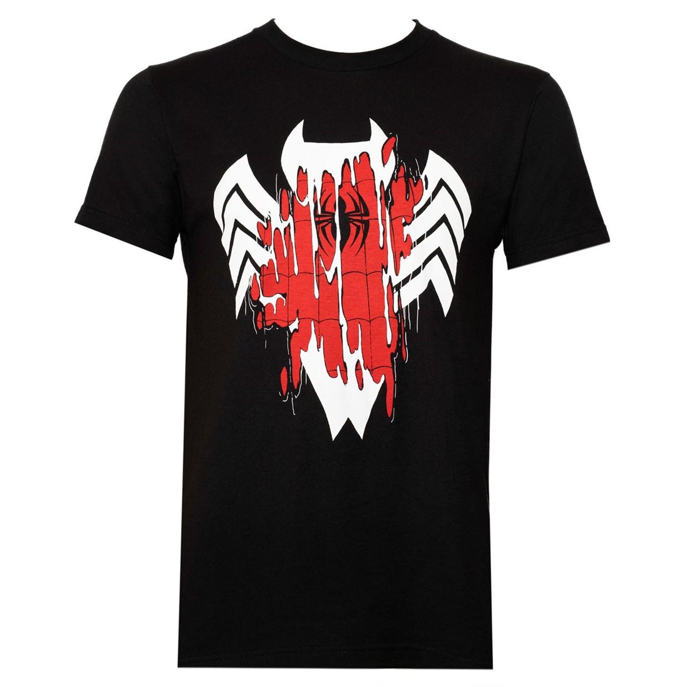 Venom Transforming Spider-man Black Men's T-Shirt