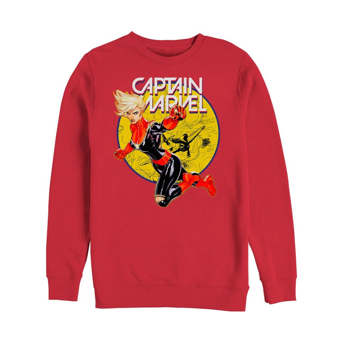 Captain Marvel Vintage Ring Men's Long Sleeve Sweat Shirt
