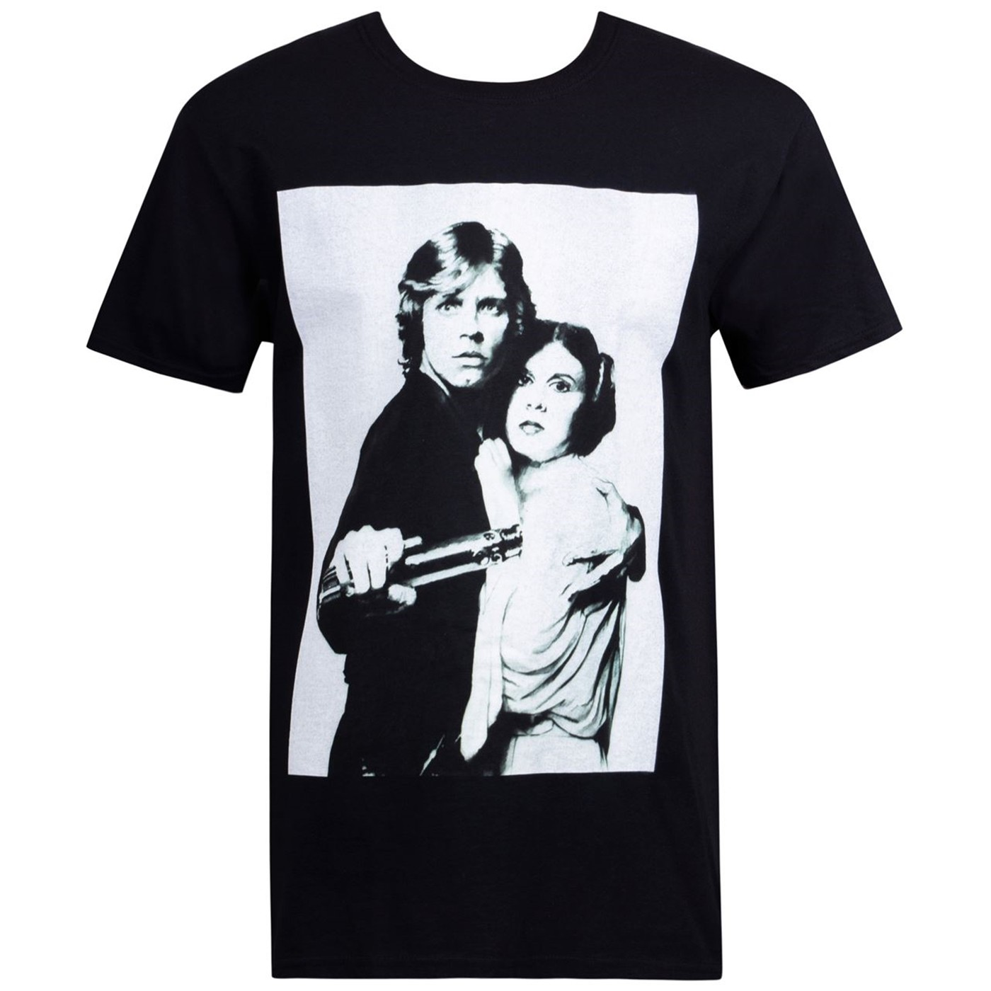 Star Wars Luke And Leia Grayscale Black Men's T-Shirt