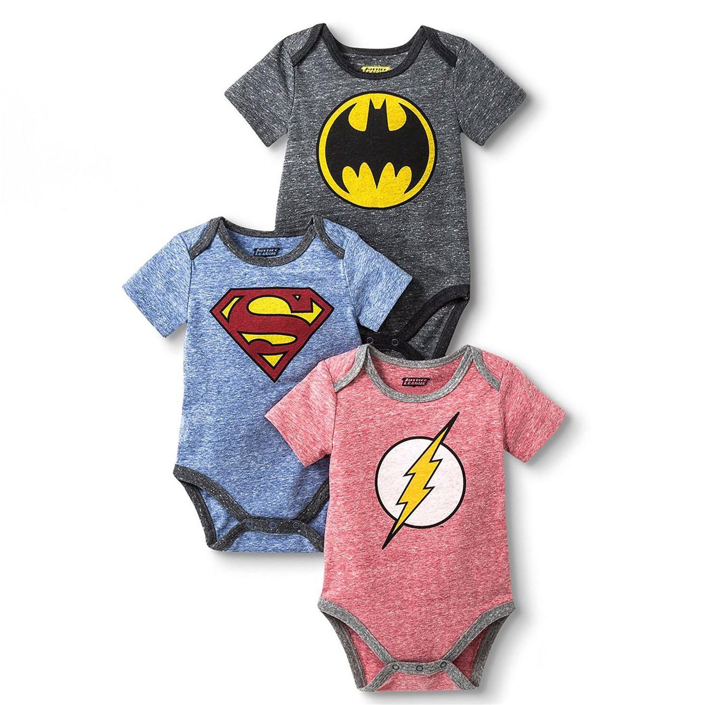 Justice League 3-Pack Infant Bodysuit Set
