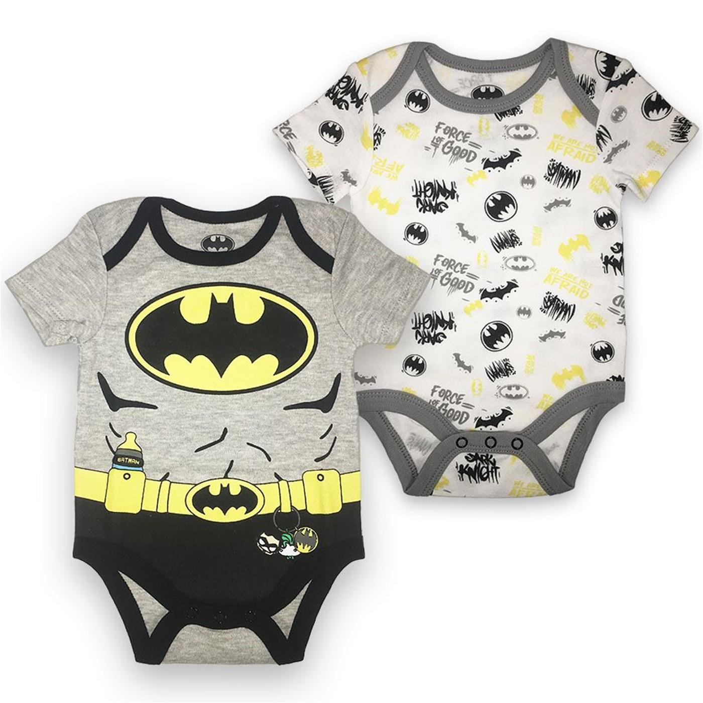 Batman Costume and Symbols 2-Pack Infant Bodysuit Set