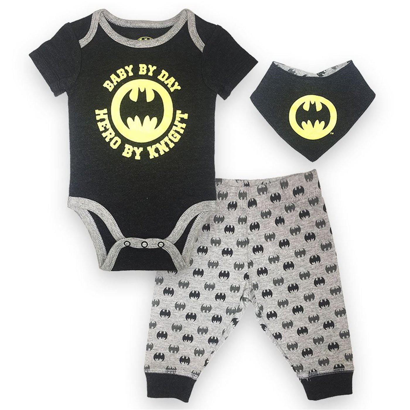Batman 3-Piece Infant Bodysuit Pant and Bib Set