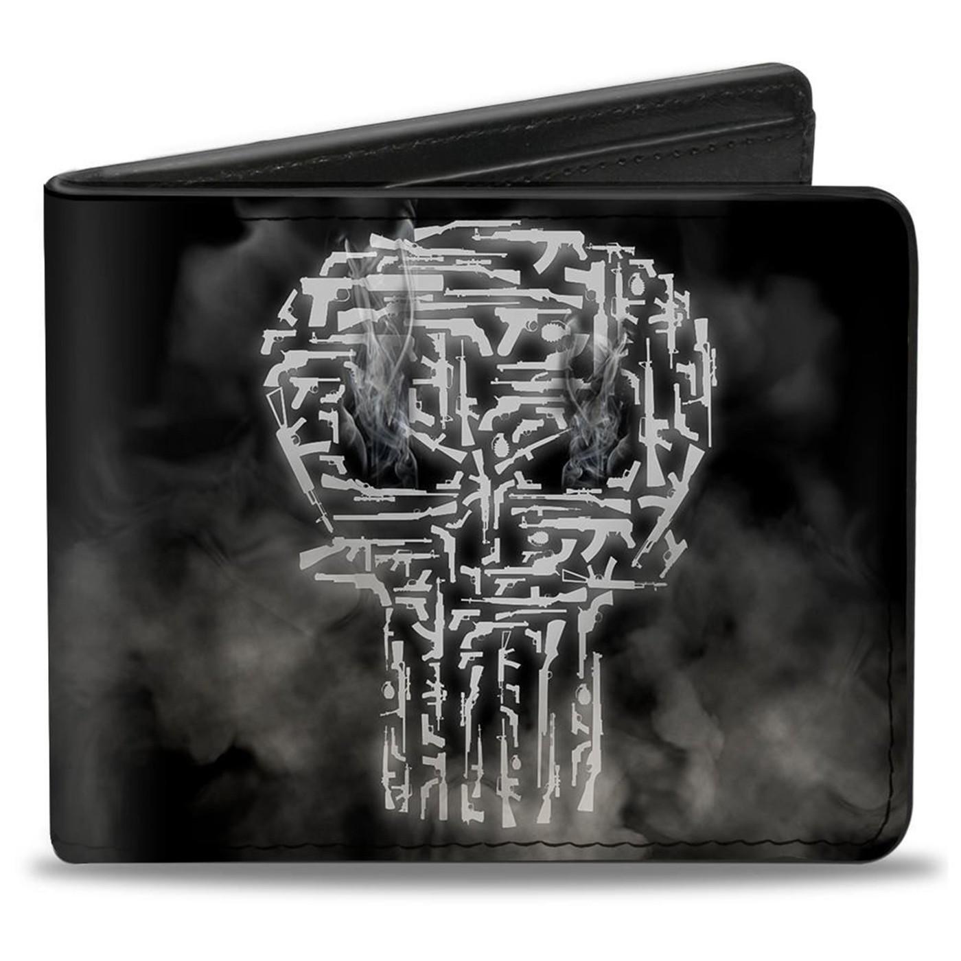 Punisher Smokey Weapons Skull Logo Bi-fold Wallet