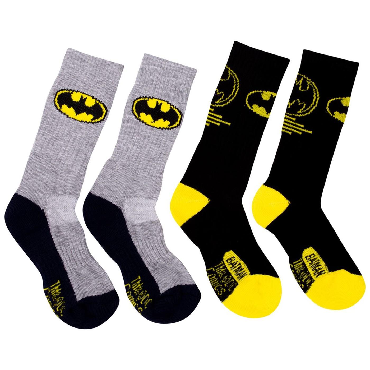 Batman Two Pack Athletic Kids Socks