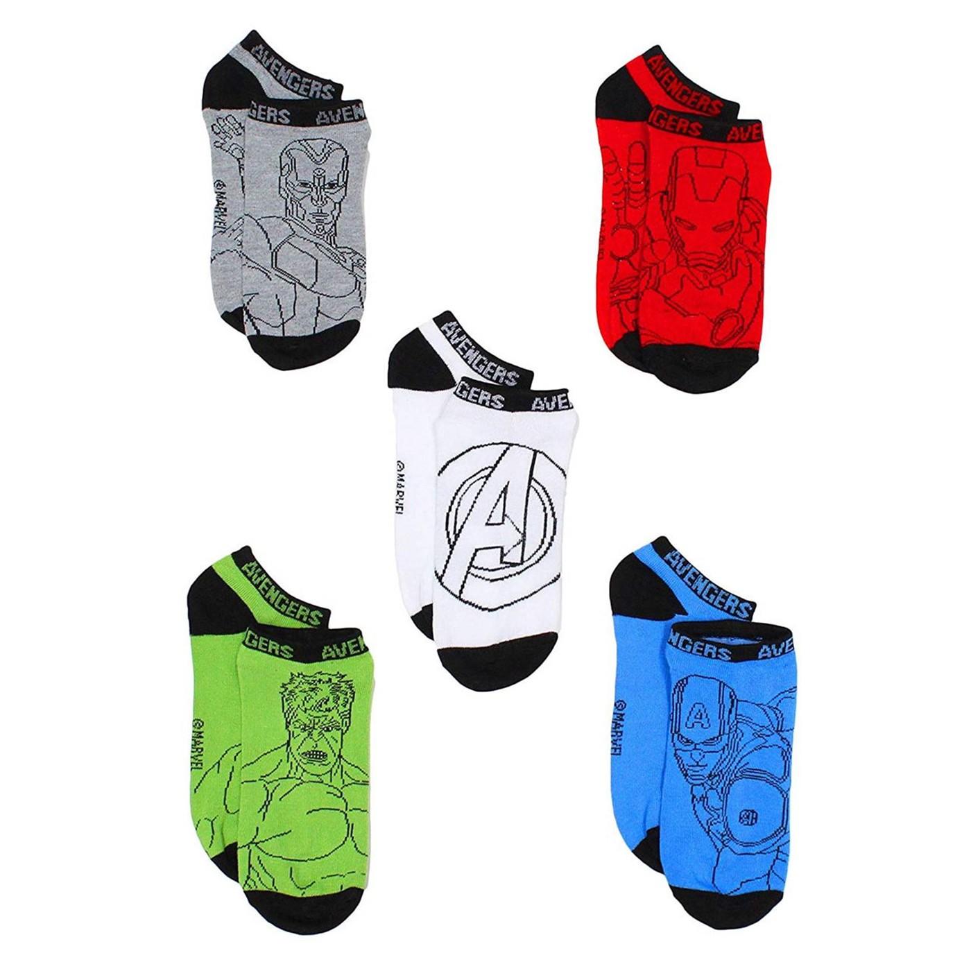 Avengers 5-Pack Low Rise Kids Socks