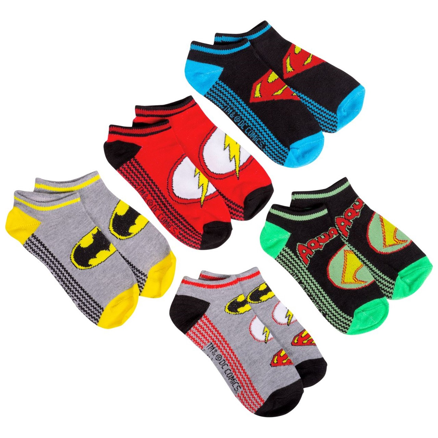 Justice League Five Pack Low Rise Kids Socks