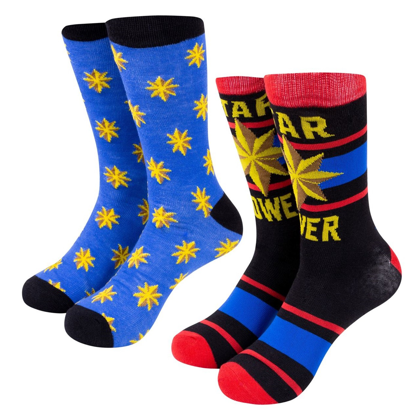 Captain Marvel Star Power Marvel Crew Socks Two Pack