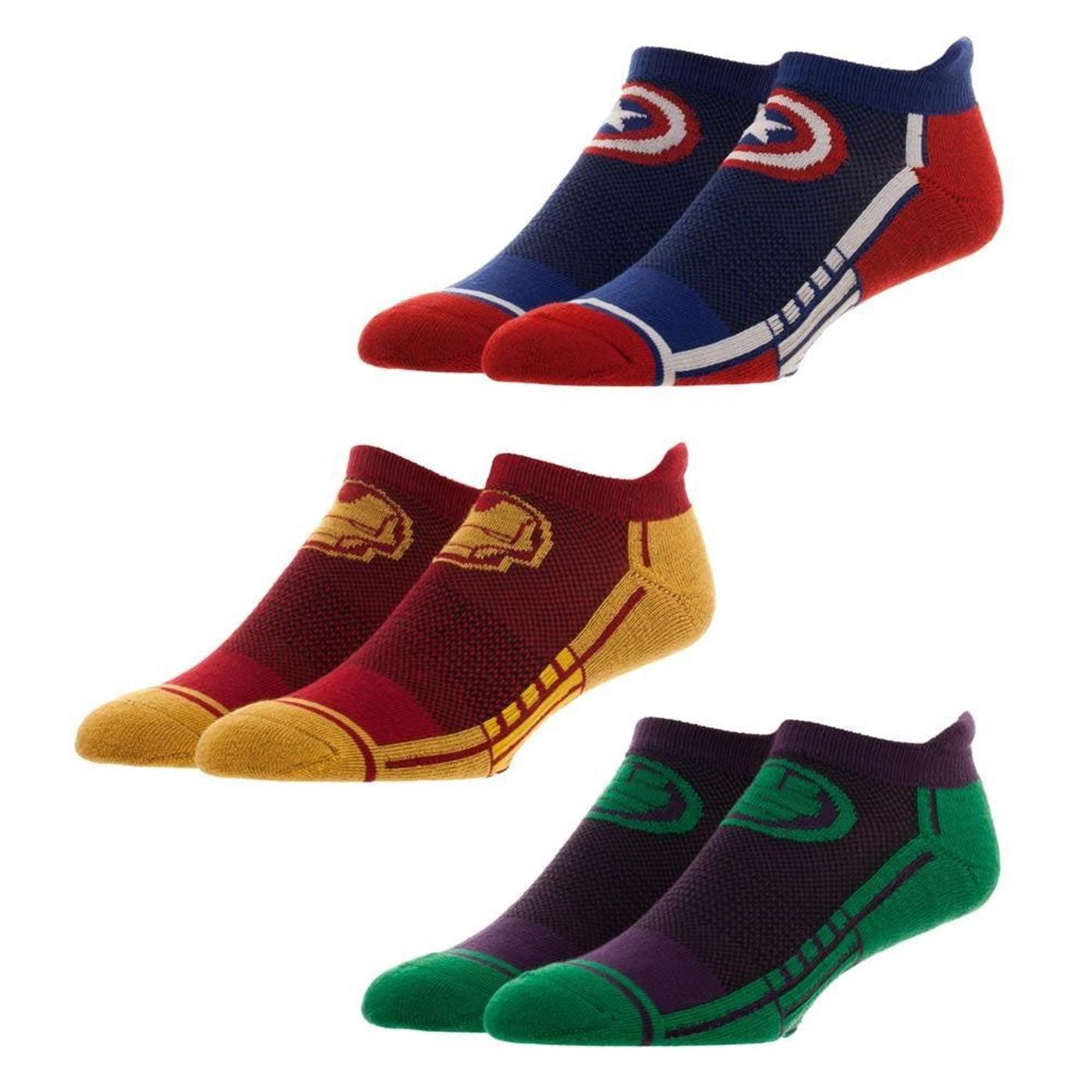 Marvel Avengers Three Pair Active Ankle Socks