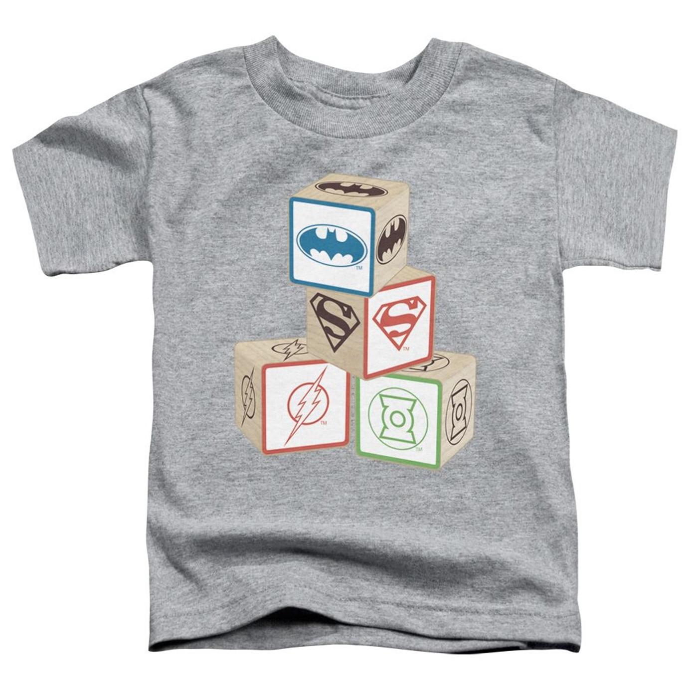 Justice League Symbols Baby Blocks Kids T-Shirt