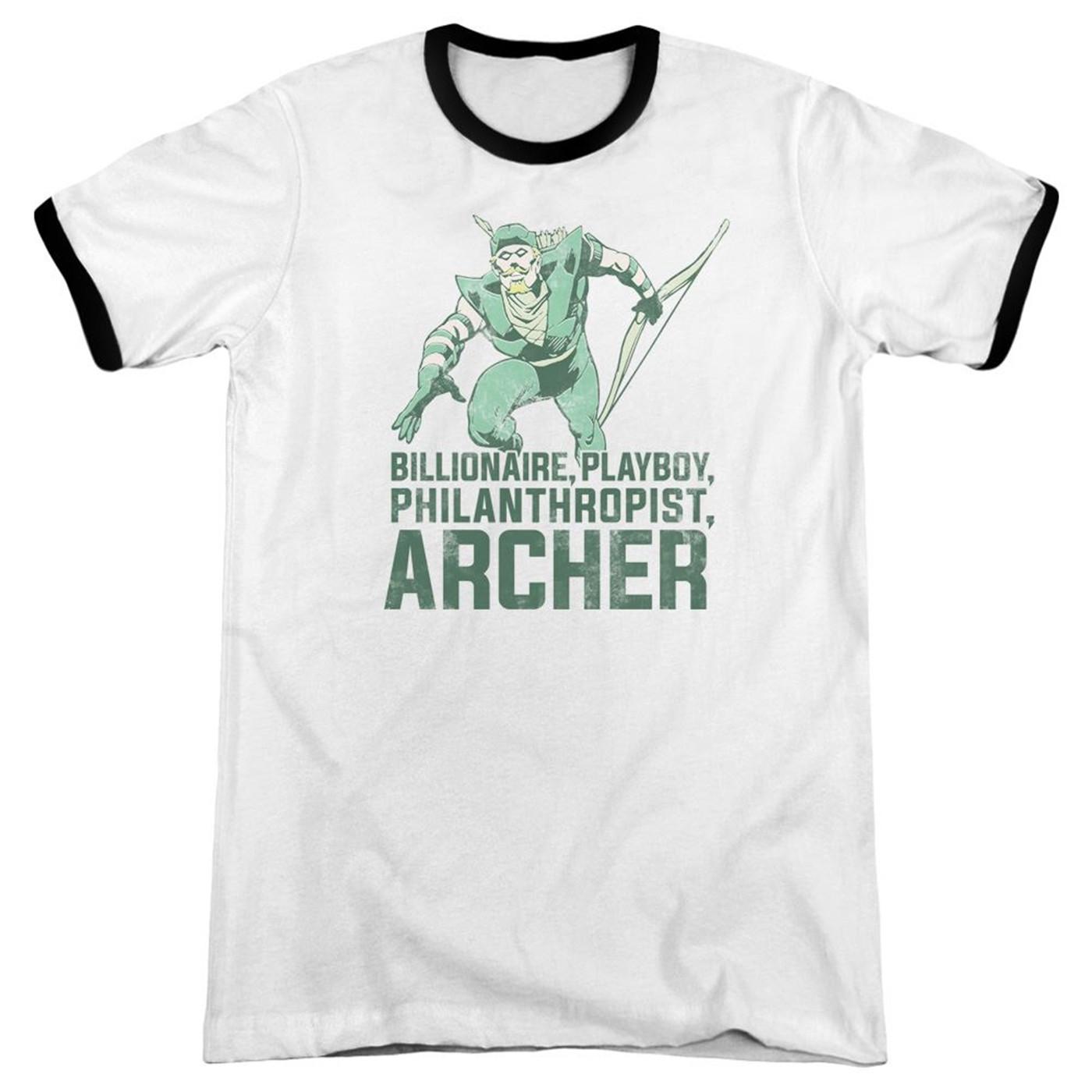 Billionaire, Playboy, Philanthropist, Archer - Green Arrow Men's Ringer Shirt