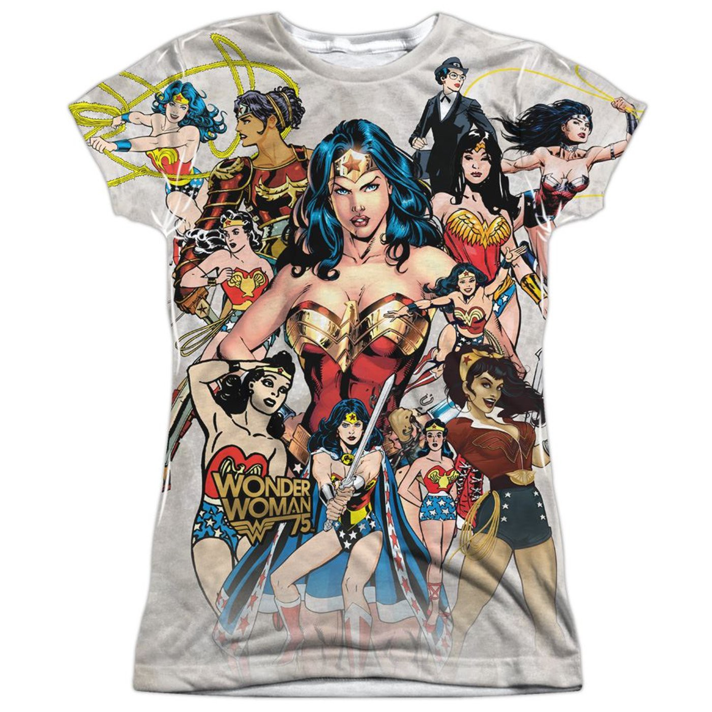 Wonder Woman 75th Collage Women's Sublimated Front and Back T-Shirt