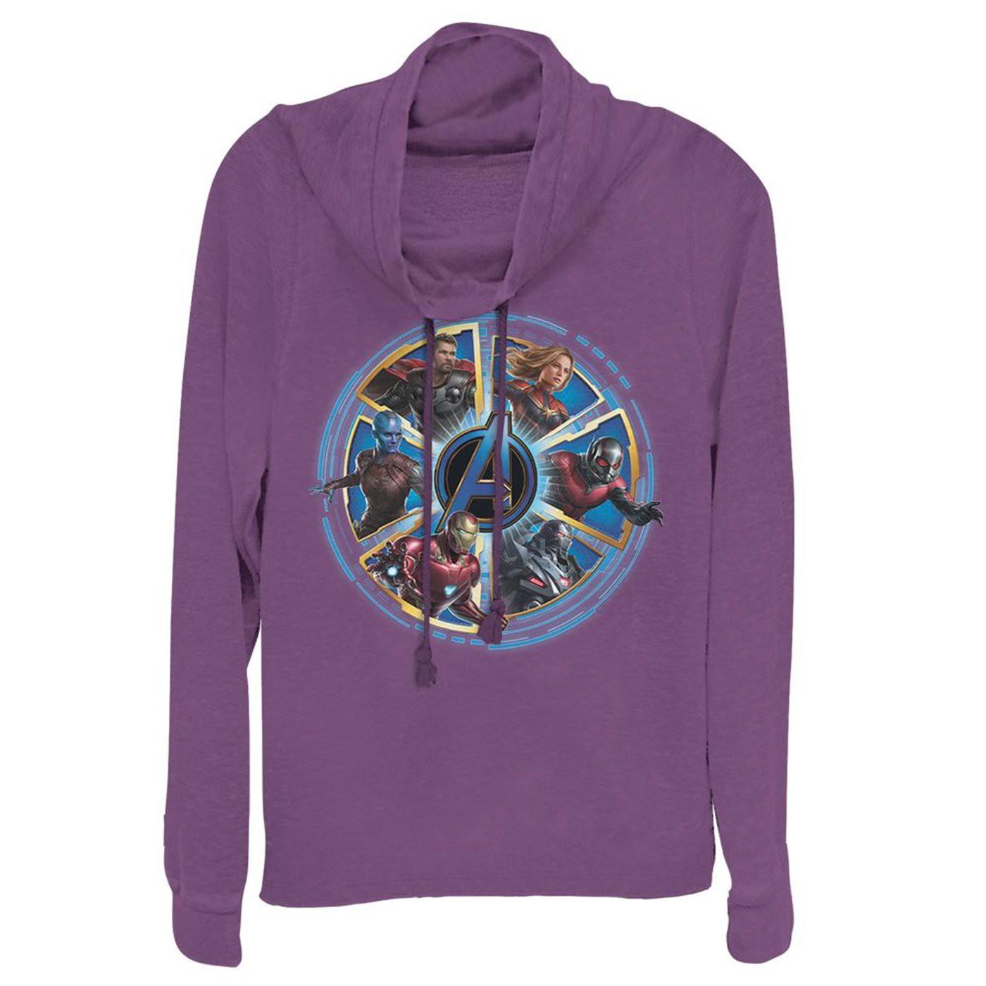 Avengers Endgame Heroes Circle Women's Cowl Neck Sweater