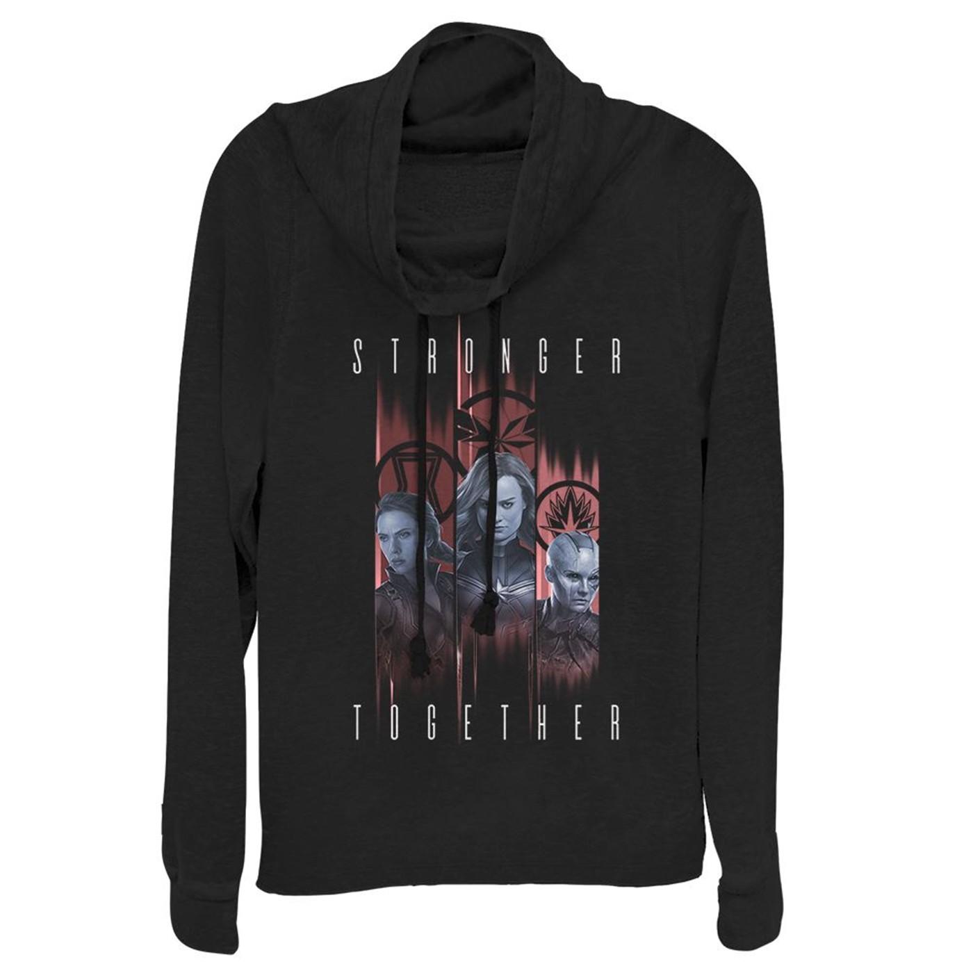 Avengers Endgame Stronger Trio Women's Cowl Neck Sweater