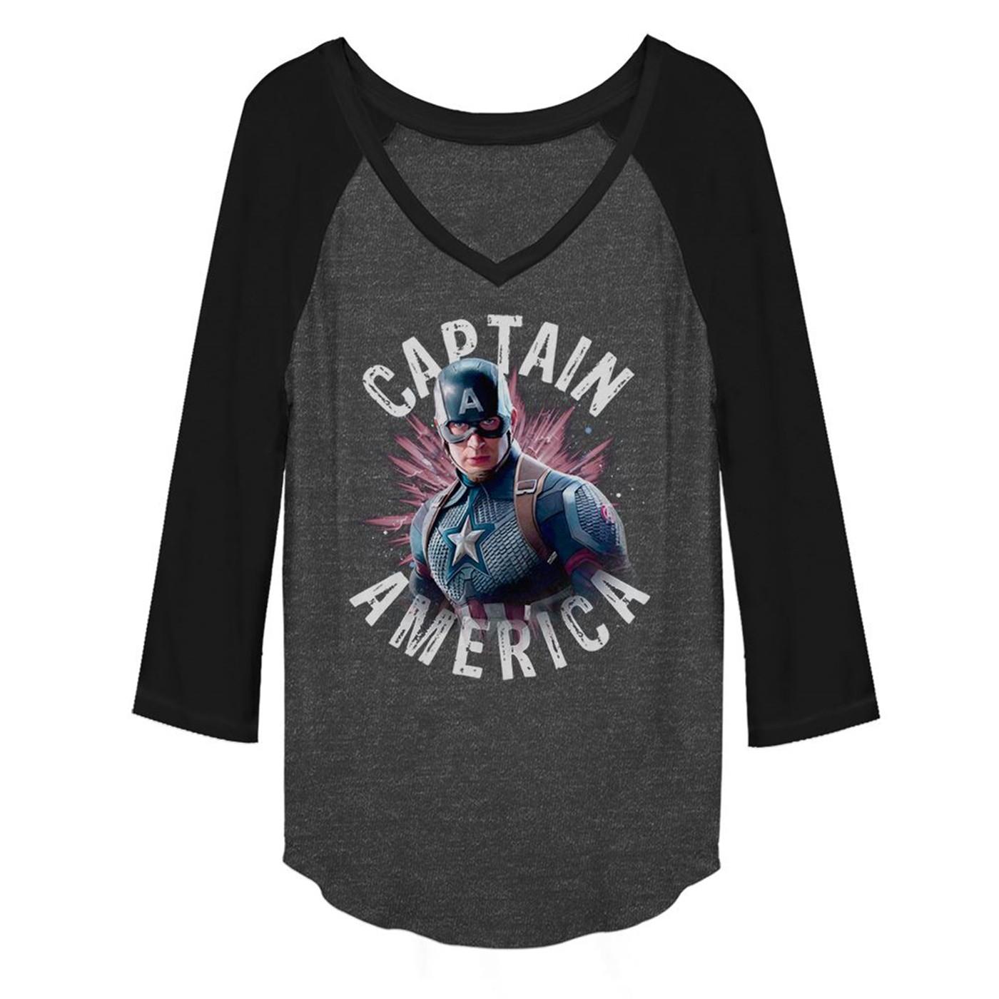 Avengers Endgame Captain America Burst Women's Long Sleeve V-Neck Raglan