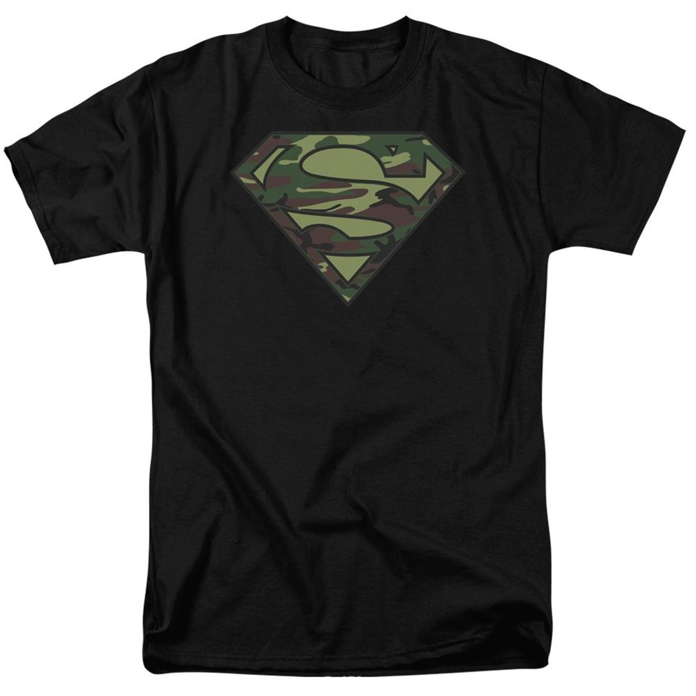 Superman Camo Symbol on Black Men's T-Shirt