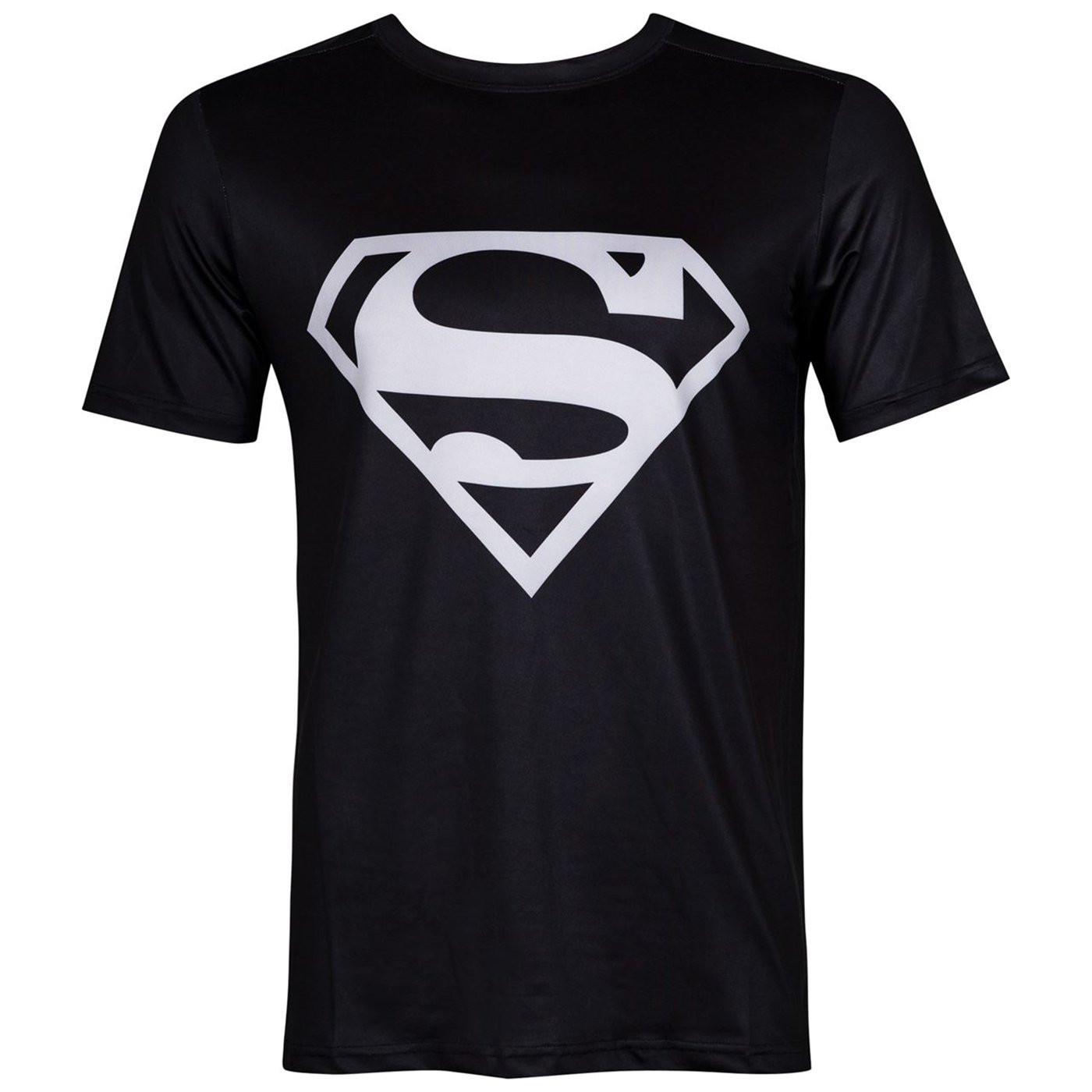 Superman Silver Logo Performance Athletic Adult T-Shirt