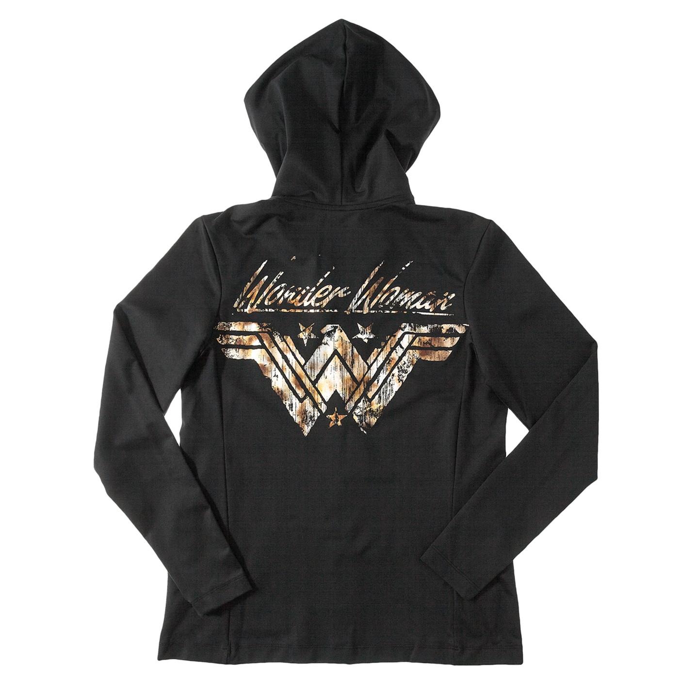Wonder Woman Shield Black Hoodie