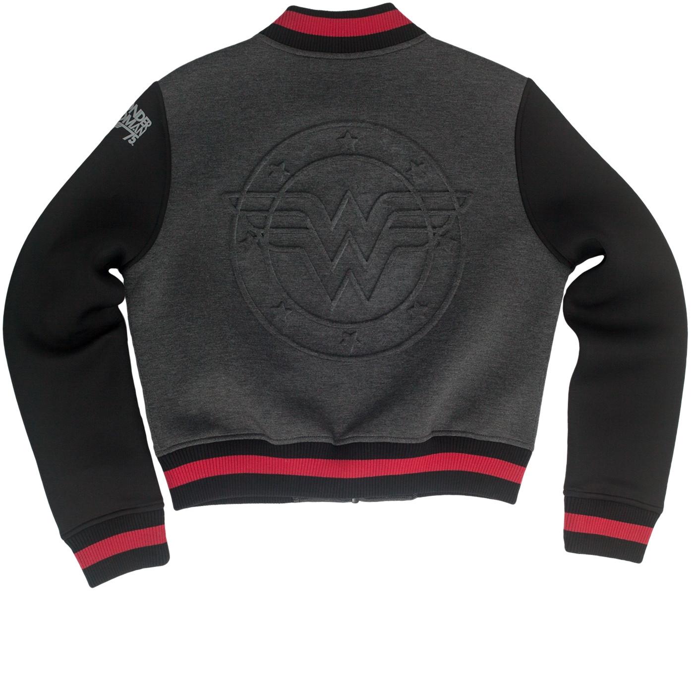 Wonder Woman Embossed Logo Varsity Jacket