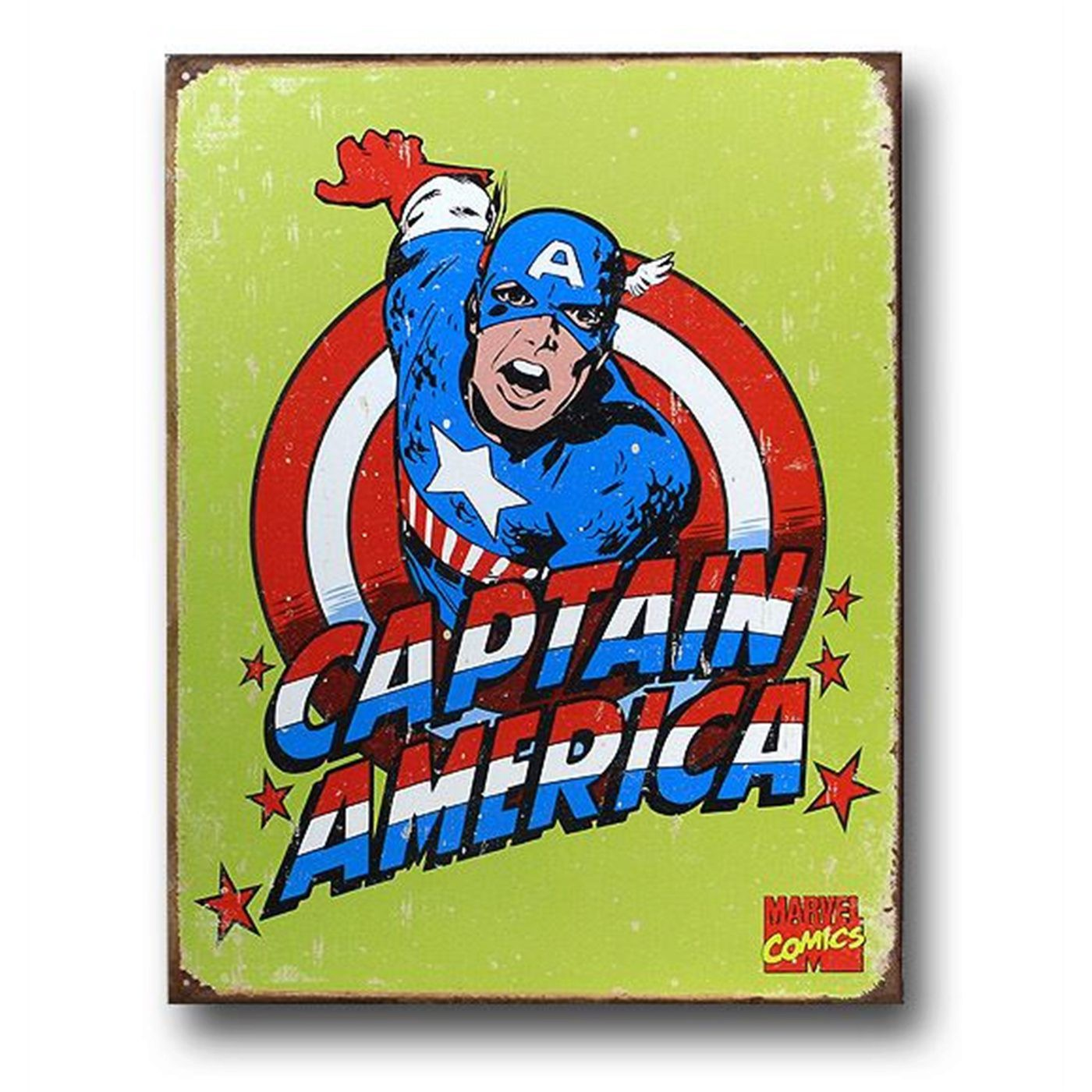 Captain America Yellow Kirby Tin Sign Poster