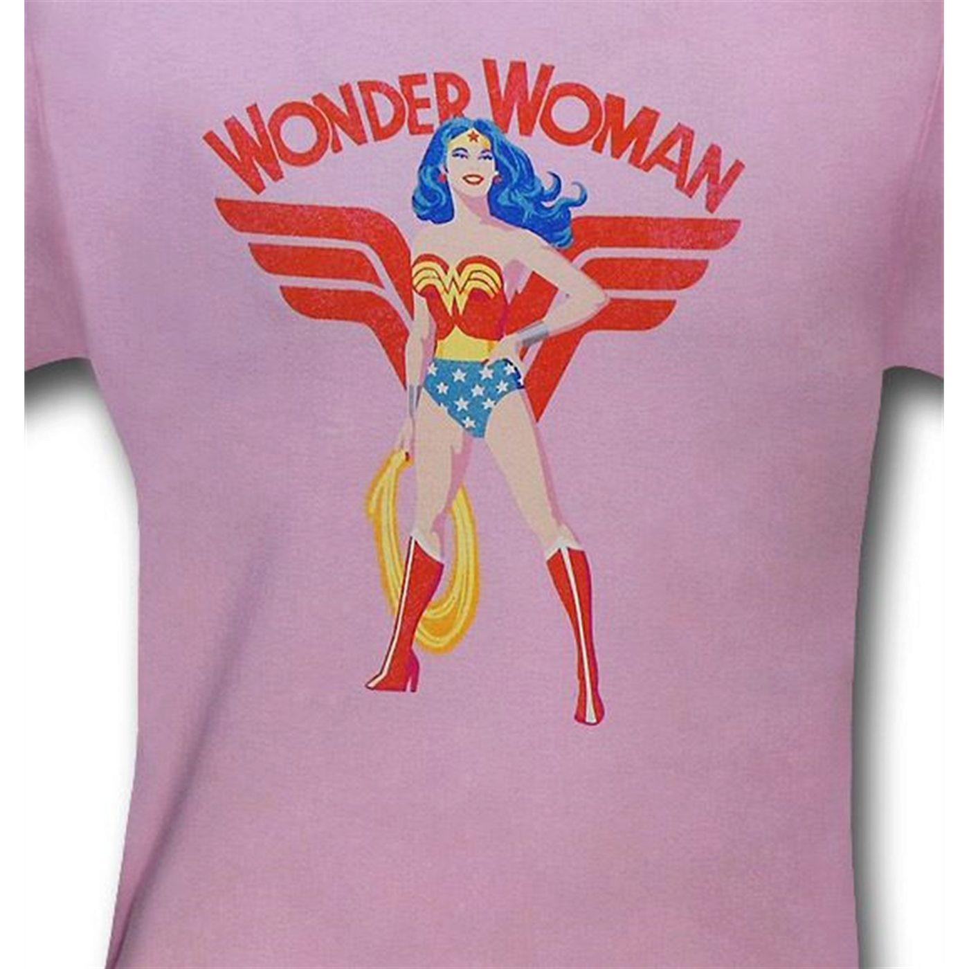 Wonder Woman Hero Stance Kids Pink T-Shirt