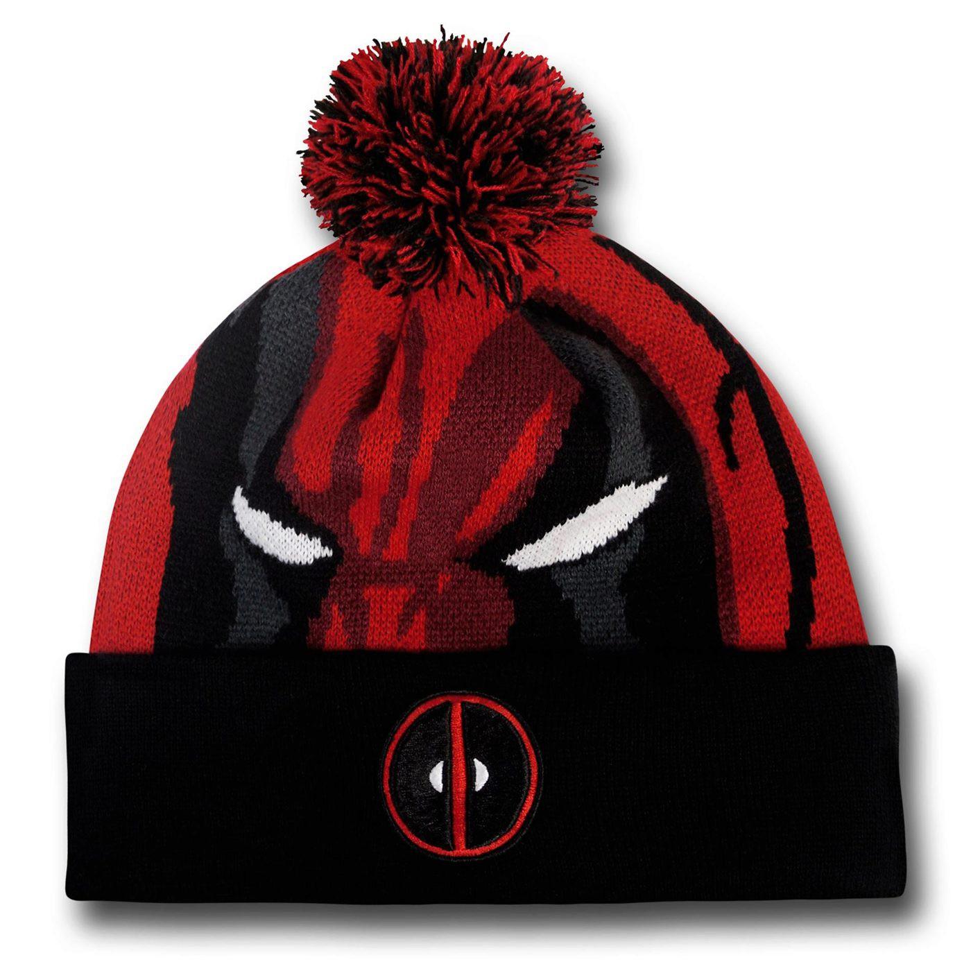 Deadpool Face Pom Pom Beanie